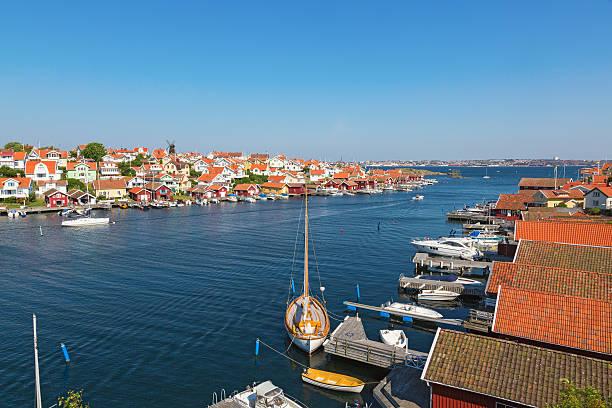 view over a coast village - bohuslän nature bildbanksfoton och bilder