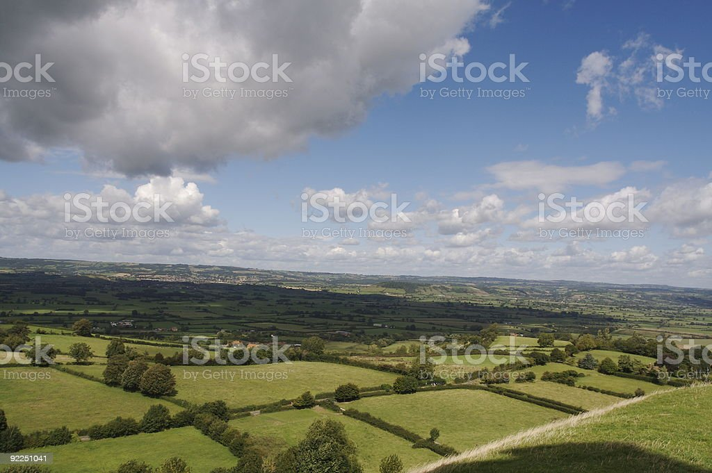 View over a english plain from Glastonbury Tor stock photo