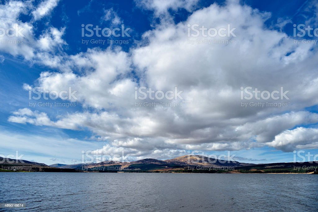 View over a Scottish loch on a bright sunny day stock photo