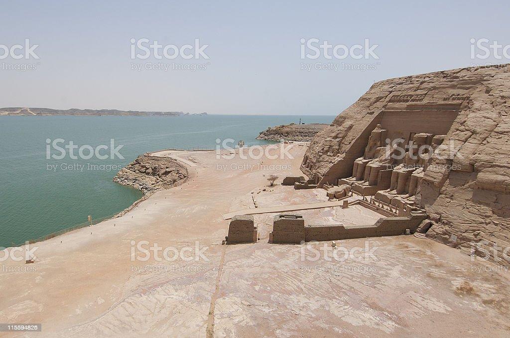 View over Abu Simbel to Lake Nasser stock photo
