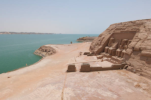 View over Abu Simbel to Lake Nasser stock photo
