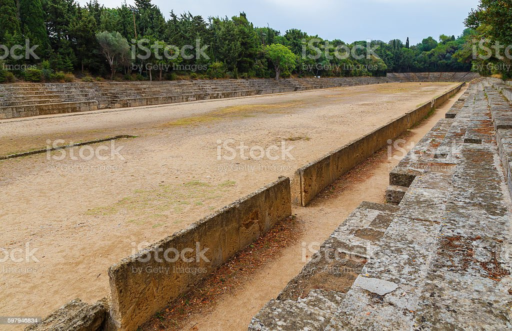 view over ancient Theatre and stadium on Rhodes foto royalty-free