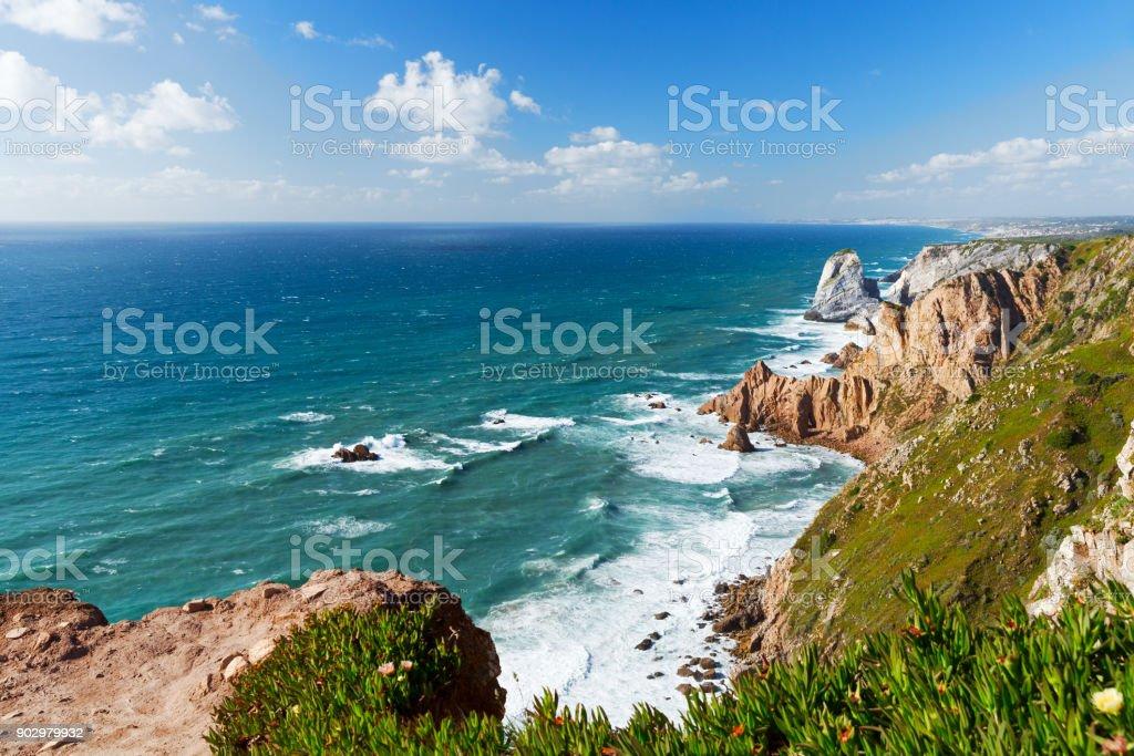 view over Atlantic ocean coast, Cabo da Roka, Portugal stock photo