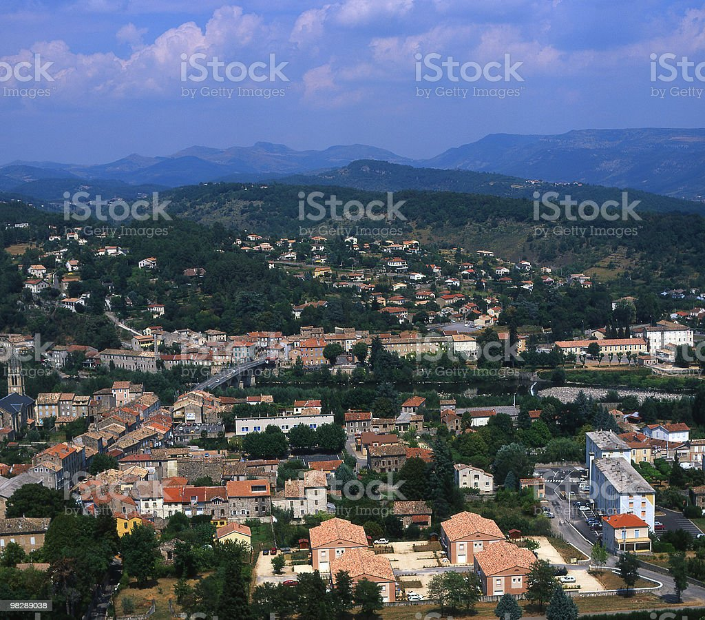 View over Aubenas in Ardeche Region of France royalty-free stock photo