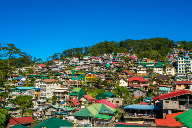 view over baguio city, northern luzon, philippines - baguio city stock photos and pictures