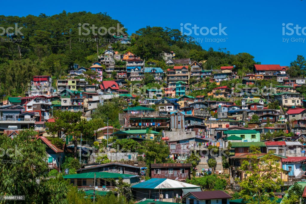 View over Baguio city, northern Luzon, Philippines stock photo