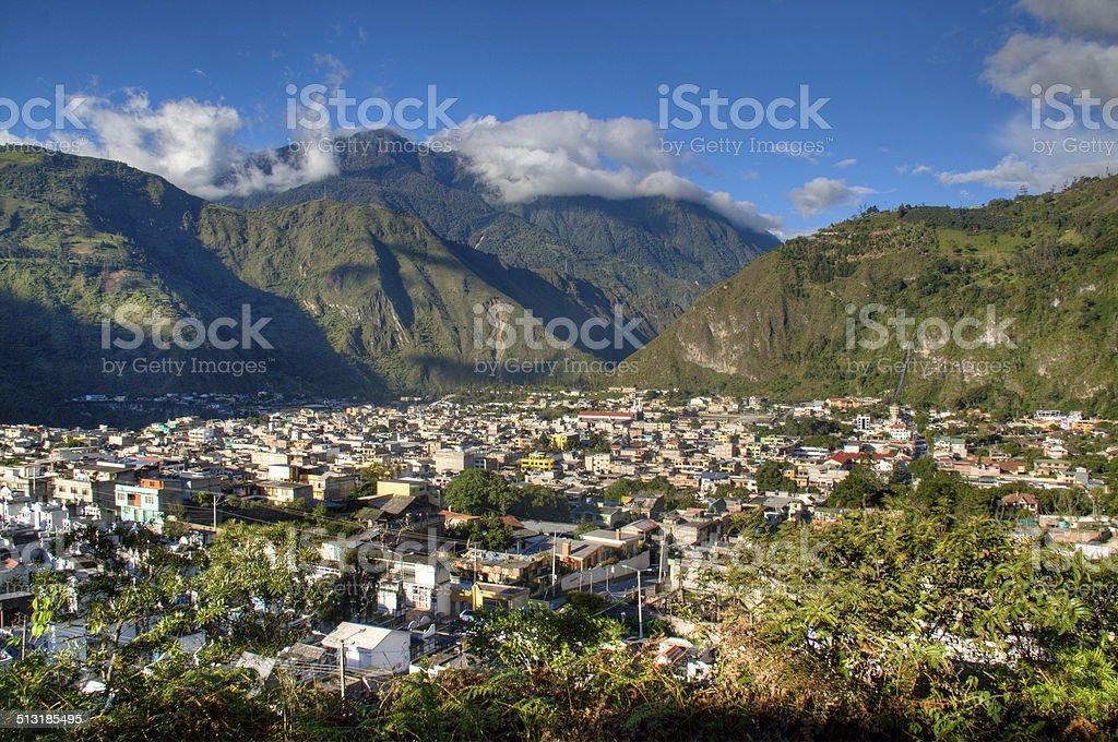 View over Banos stock photo