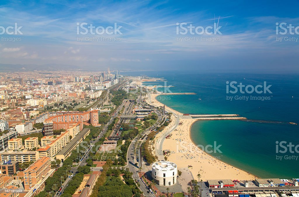 View over Barcelona coastline from the heliport of Torre Mapfre. stock photo