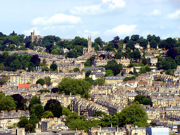 View over Bath, England Panoramic view of the historic city of Bath, England bath england stock pictures, royalty-free photos & images