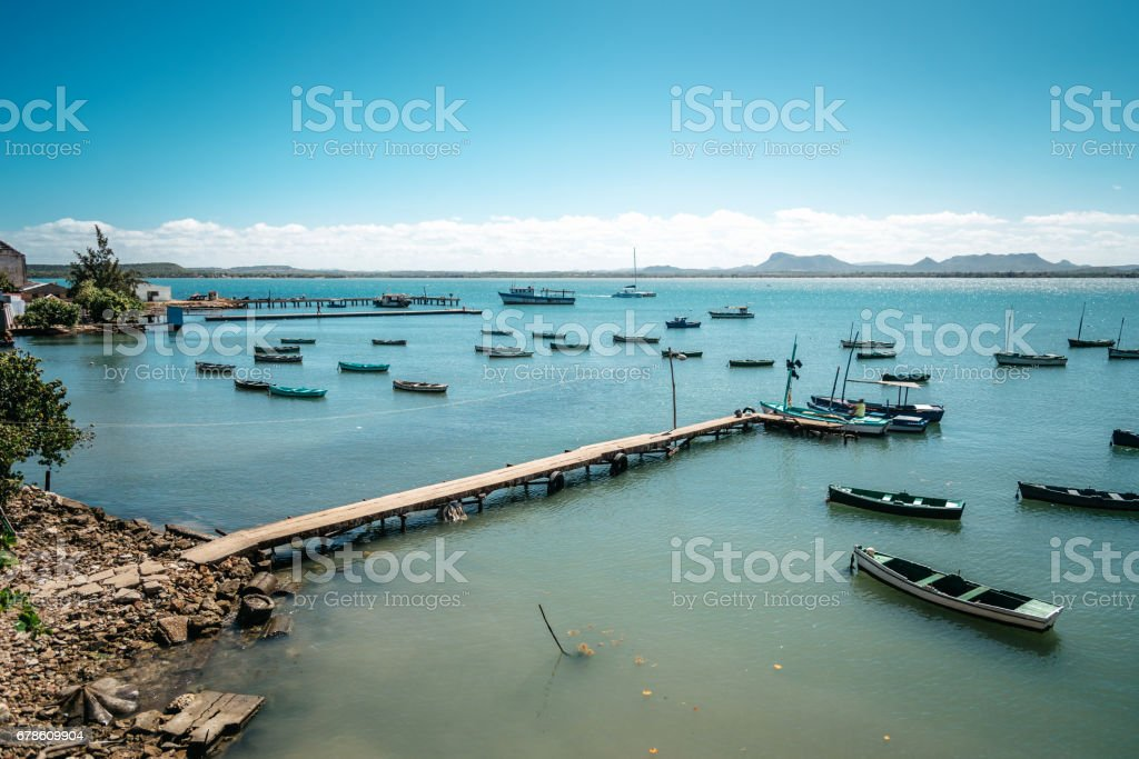 view over bay with little fishing boats in Gibara in Cuba stock photo