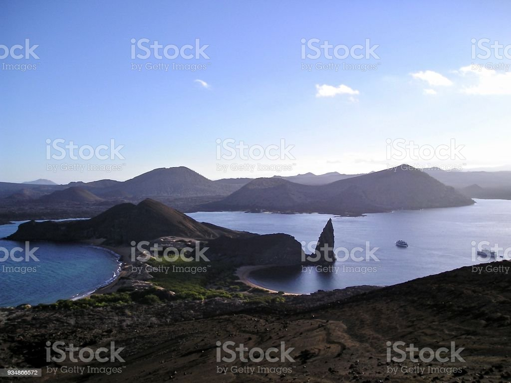 View Over Bays and Volcanos in the Galapagos Islands stock photo