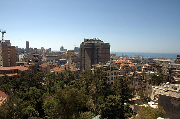 view over beirut - alintal stock pictures, royalty-free photos & images