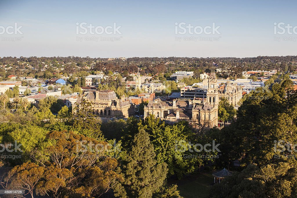 View over Bendigo CBD stock photo