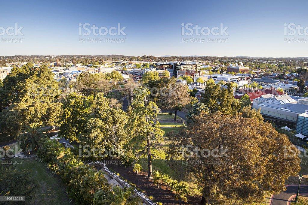 View over Bendigo CBD stock photo