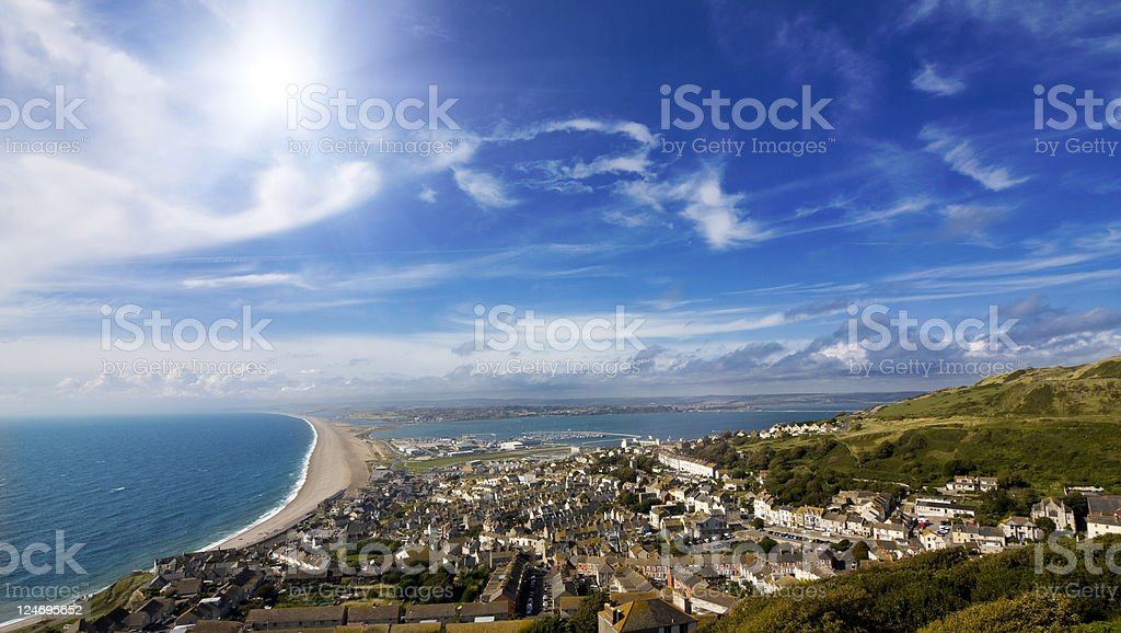 View over British seaside town and coastline stock photo