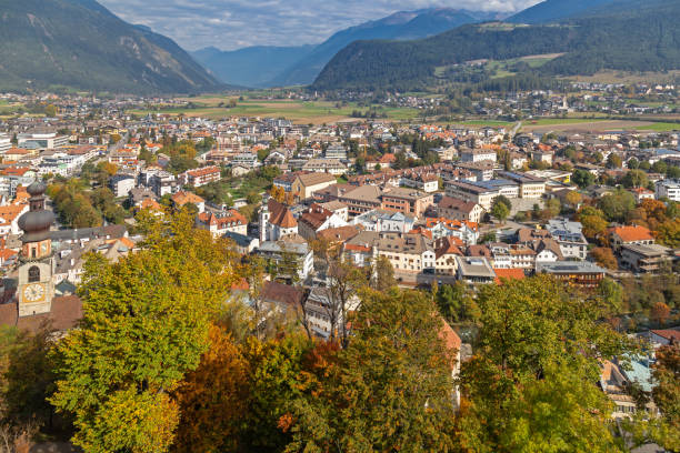 View over Bruneck Aerial view over Bruneck, South Tyrol bruneck stock pictures, royalty-free photos & images