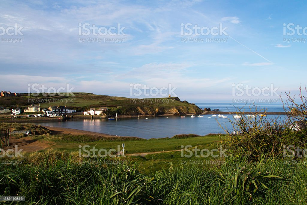View over Bude in Cornwall from the costal path stock photo