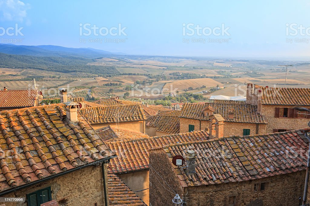 View over Casale Marittimo to the plain below, Tuscany, Italy stock photo