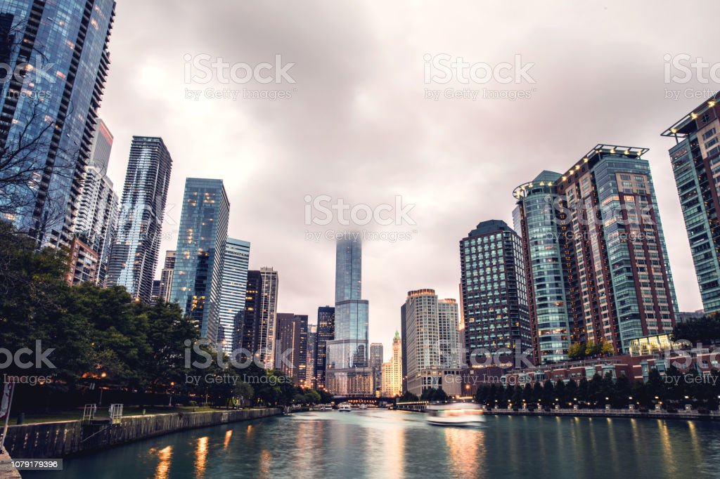 View over Chicago skyscrapers by the river stock photo