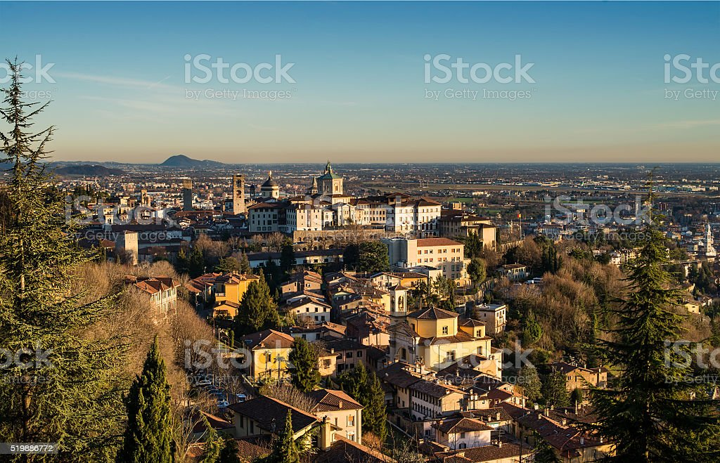 View over Citta Alta or Old Town buildings in the stock photo