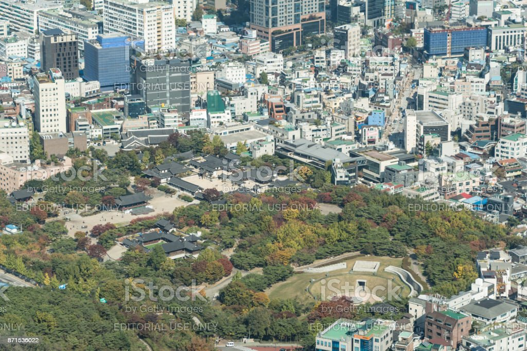 View over city and Royal Palace of Seoul in South Korea stock photo