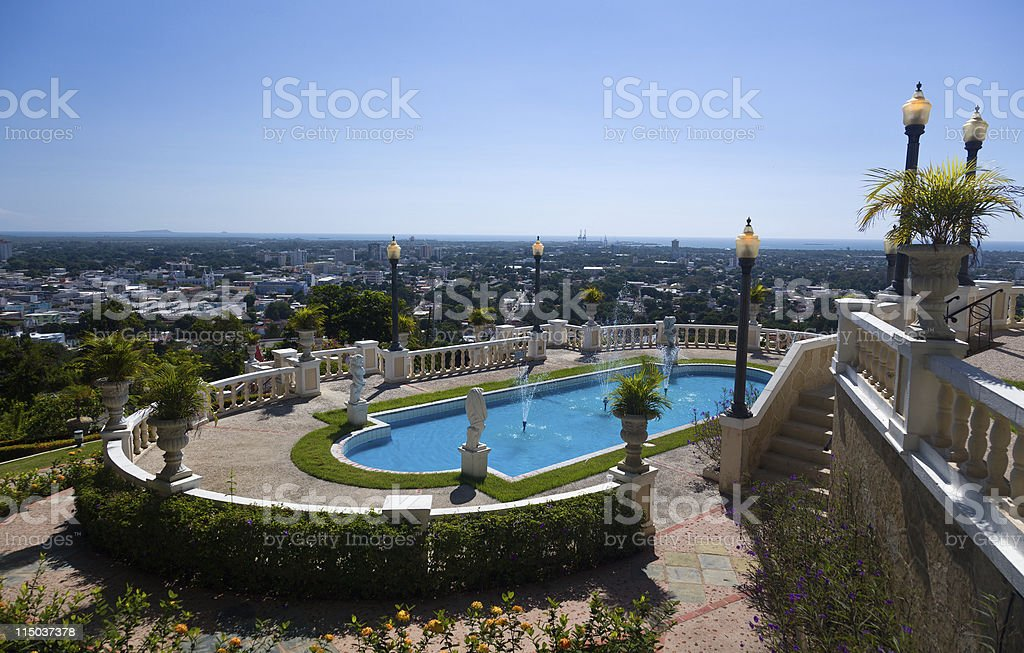 View over city of Ponce stock photo