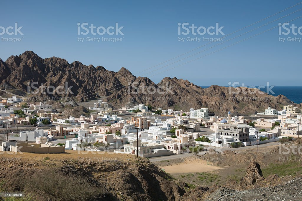 View over coastal village in Oman stock photo