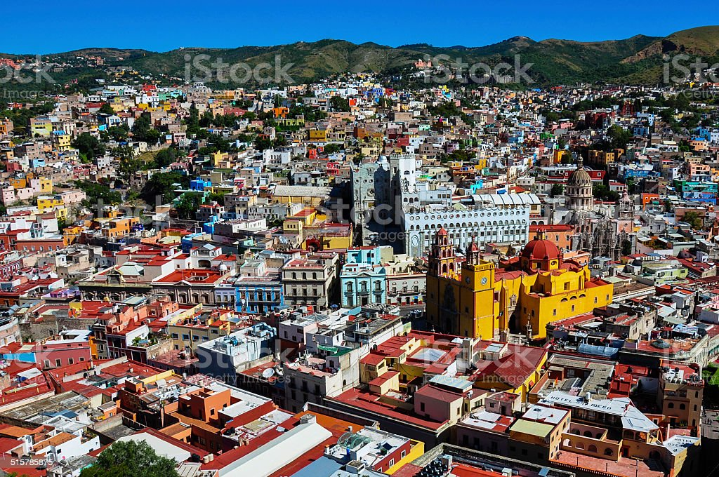 View over Colonial city of Guanajuato, Guanajuato, Mexico stock photo