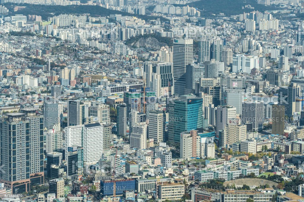 View over densely populated city of Seoul in South Korea stock photo