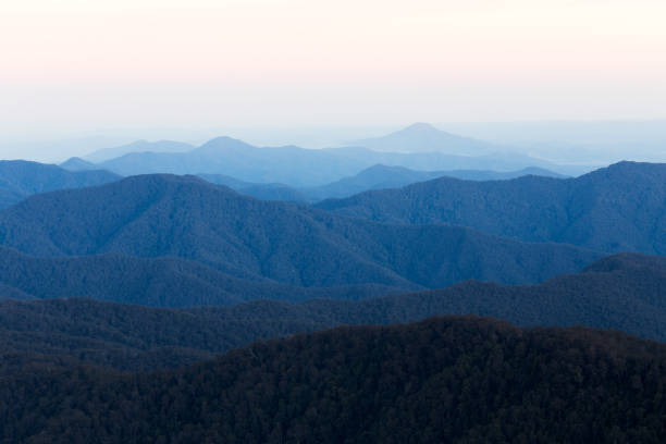 View Over Distant and Layered Mountain Range stock photo