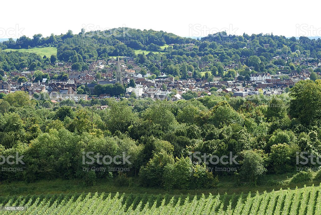 View over Dorking. Surrey. England royalty-free stock photo