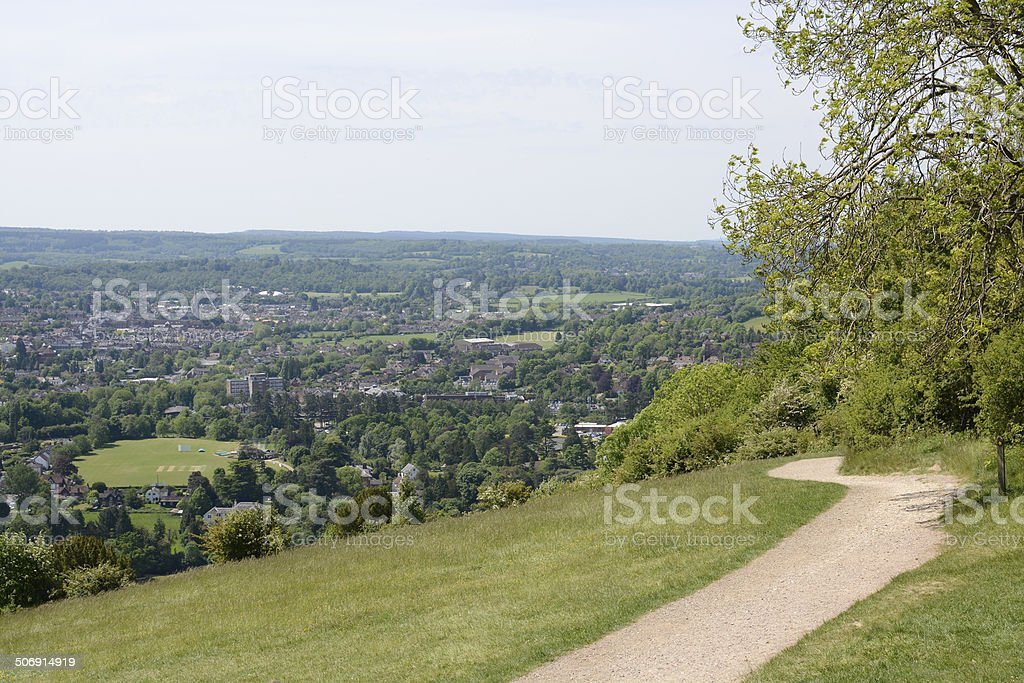 View over Dorking. Surrey. England stock photo