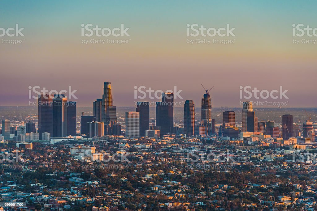 view over downtown Los Angeles at sunset stock photo