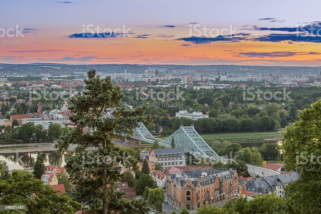 view over Dresden with the Blue Wonder stock photo