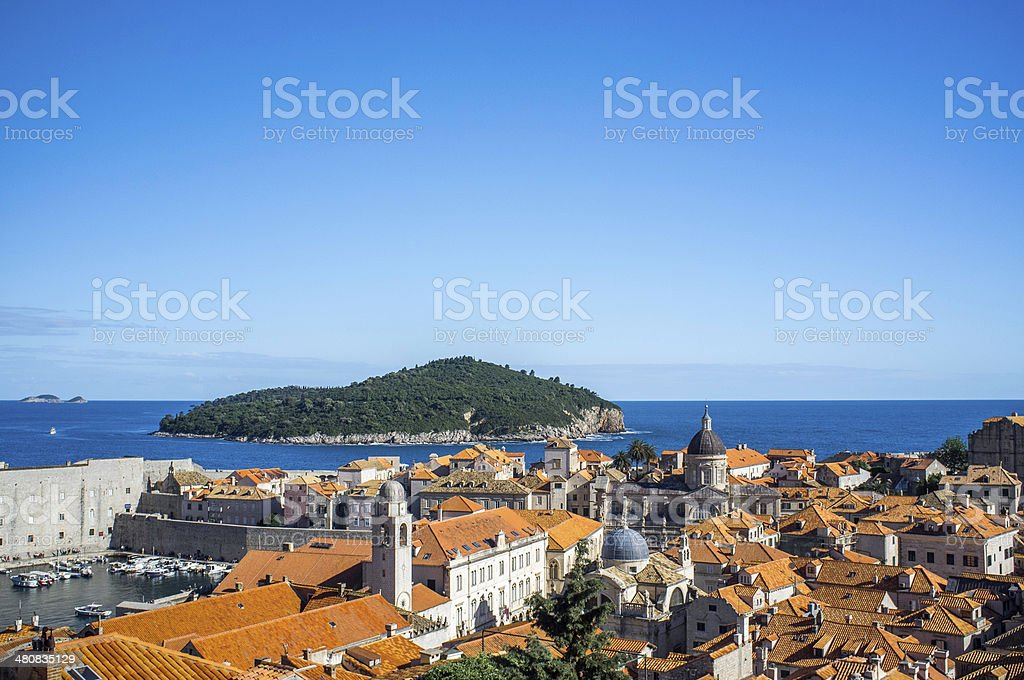View over Dubrovnic habour and Lokrum Island stock photo