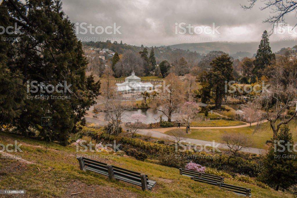 Uitzicht over Dunedin Botanic Garden, Zuid eiland, Nieuw-Zeeland foto