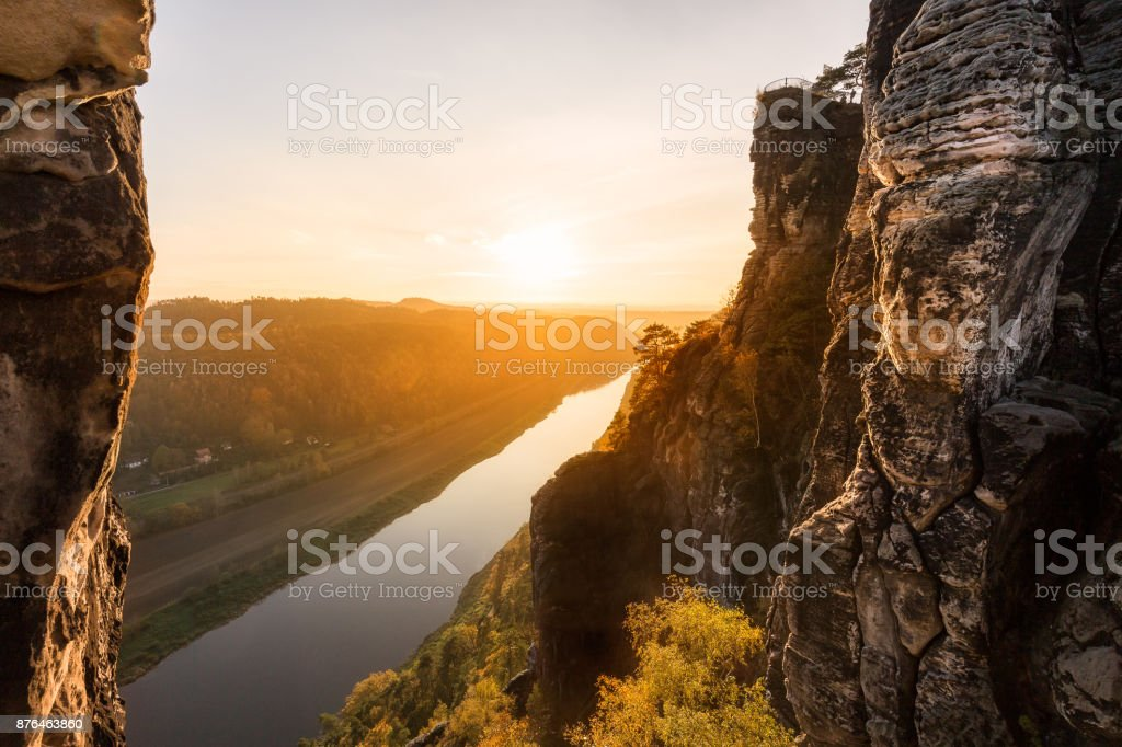 View over Elbe river stock photo