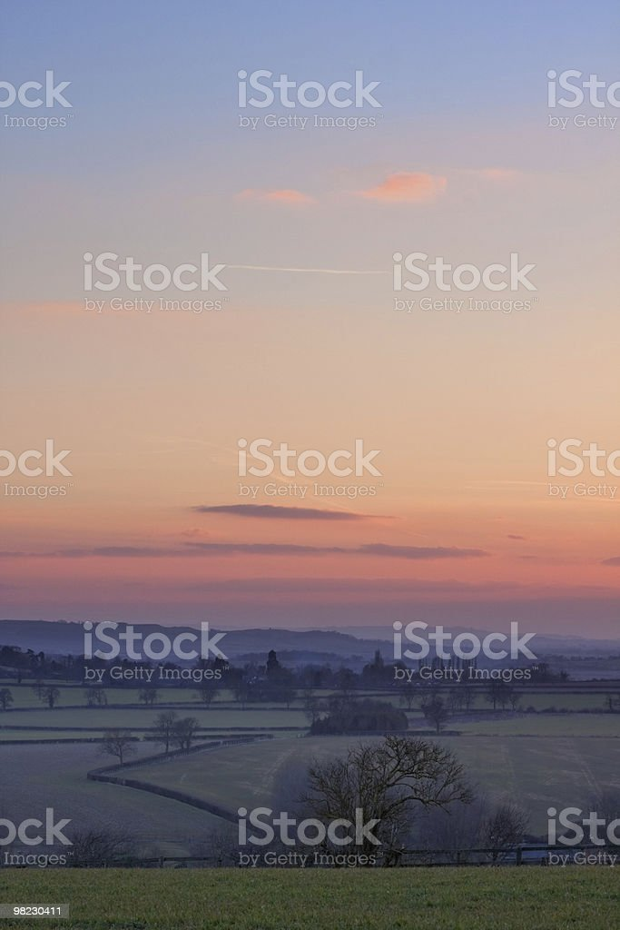 View over English countryside at sunset royalty-free stock photo
