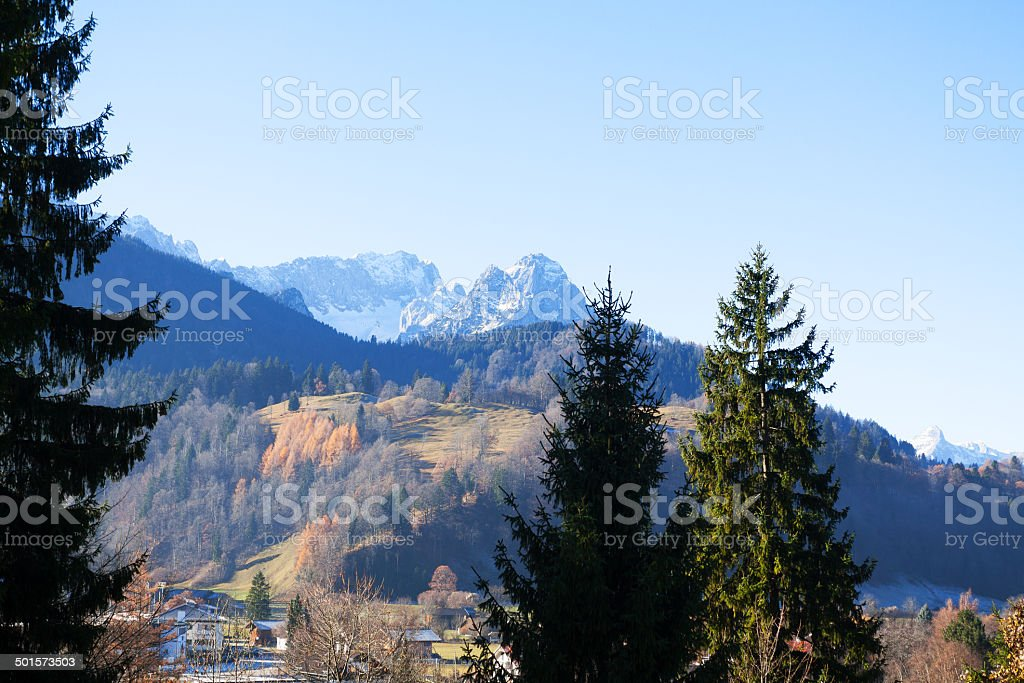 View over Garmisch til Zugspitze royalty-free stock photo