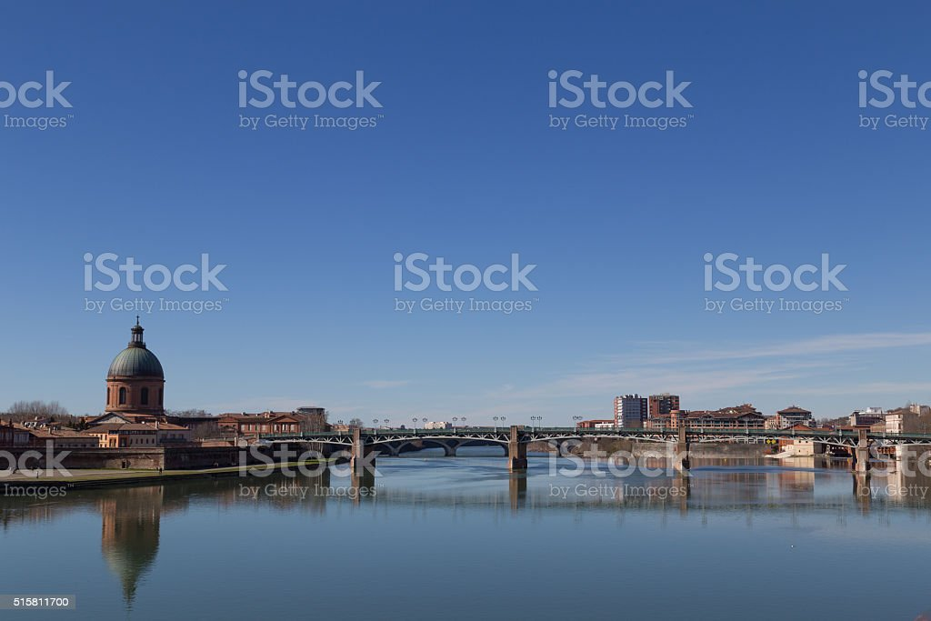 View over Garonne River in Toulouse stock photo