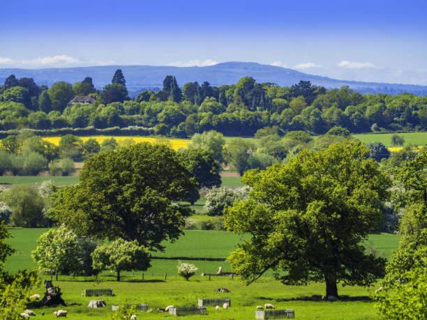 view over generic english landscape worcestershire england uk stock photo