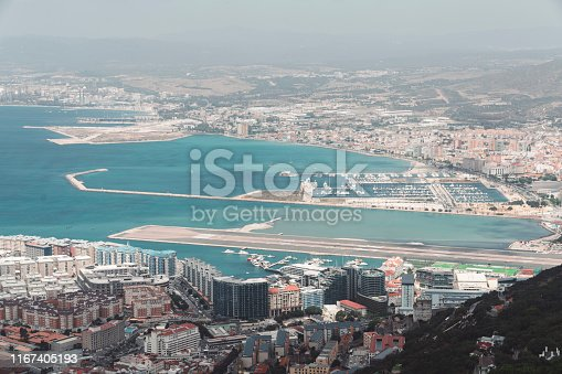 View from the top over Gibraltar airport and port