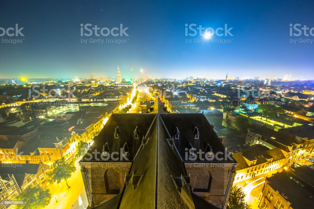View over Groningen city by night stock photo