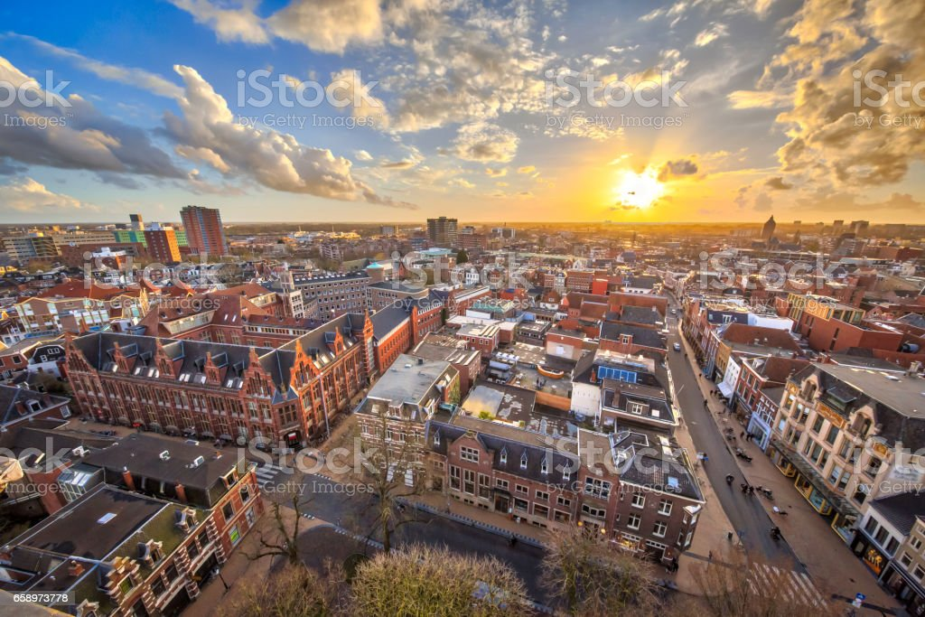 View over Groningen city stock photo
