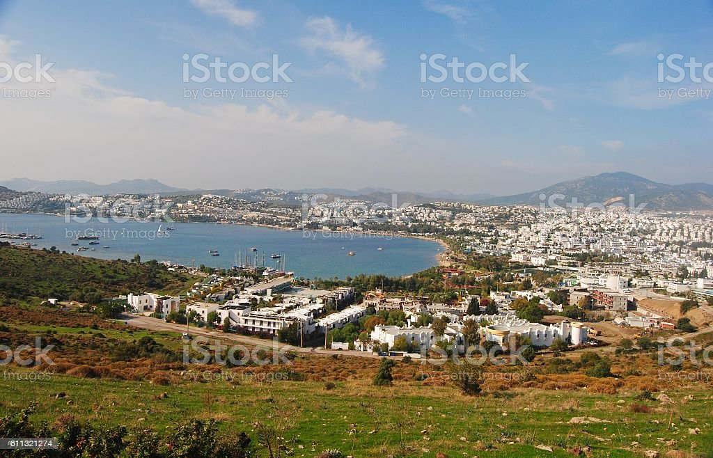 View over Gumbet in Turkey. stock photo