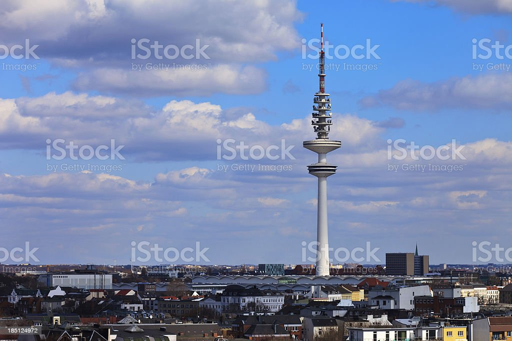 View over Hamburg city, Germany, Television tower royalty-free stock photo