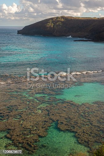 View of Waves Breaking on the Reef at Hanauma Bay Oahu