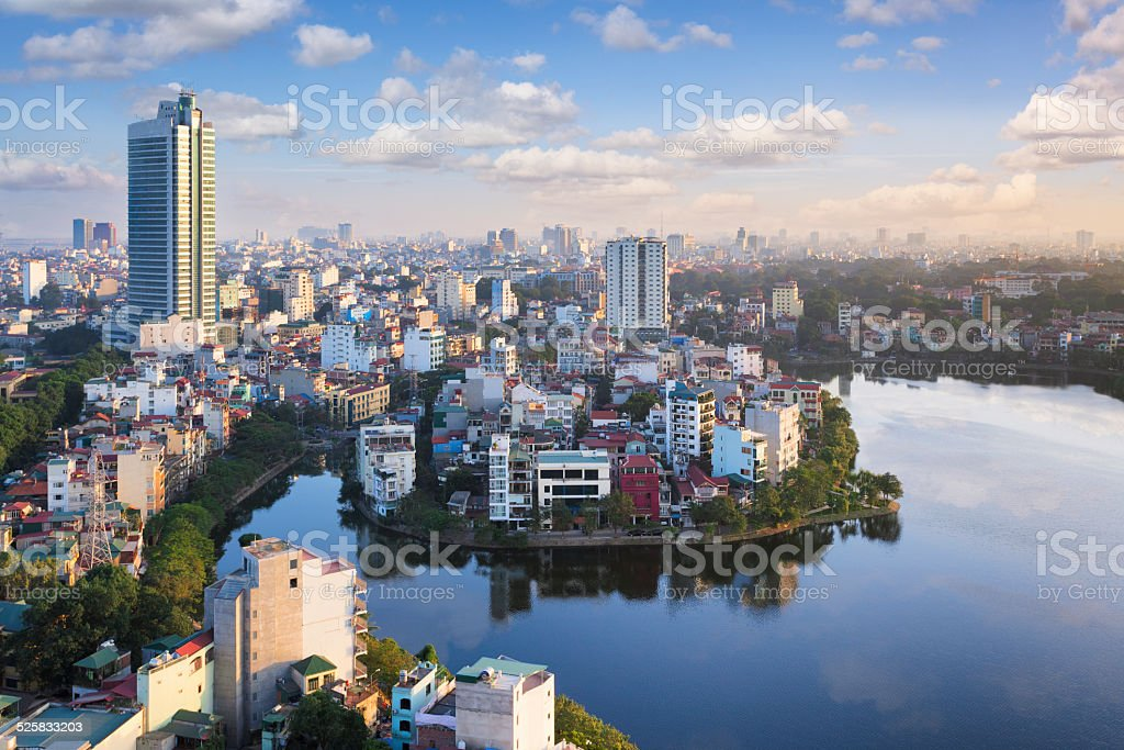 View over Hanoi, Vietnam View over the city of Hanoi, Vietnam, with Trúc Bạch Lake in the foreground. Building Exterior Stock Photo