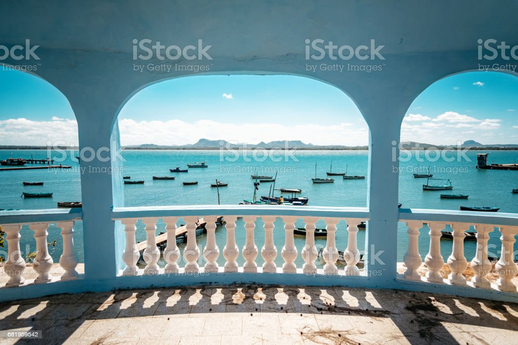view over harbor with little fishing boats in Gibara in Cuba stock photo