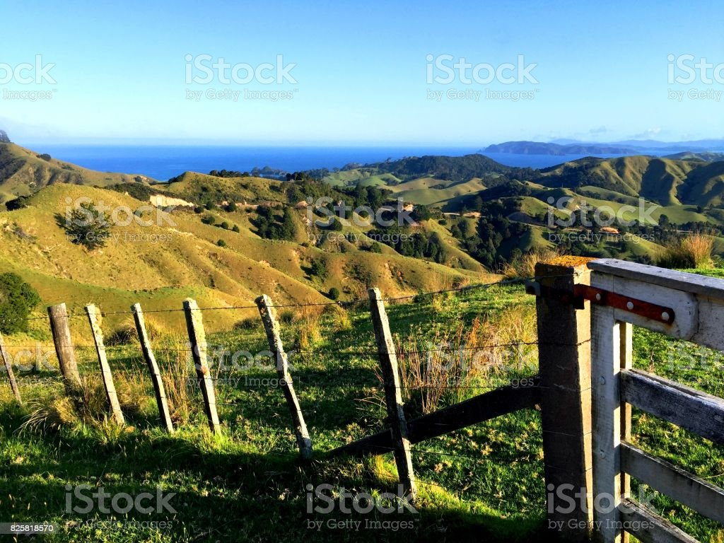 View over Helena Bay, New Zealand with Fence in the front stock photo